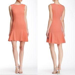 NEW Betsey Johnson Flounce Textured Coral Dress